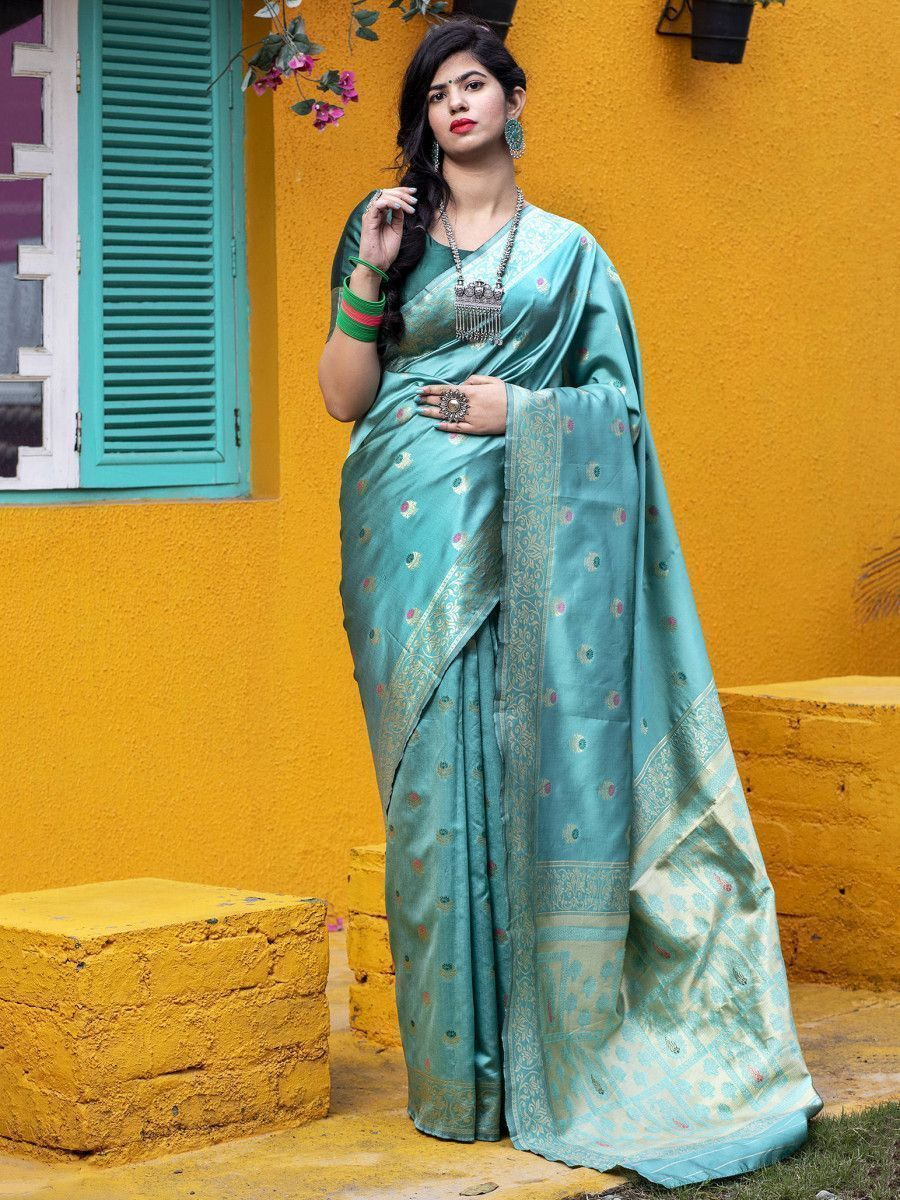 Green Golden Banarasi Silk Festival Wear Saree With Blouse
