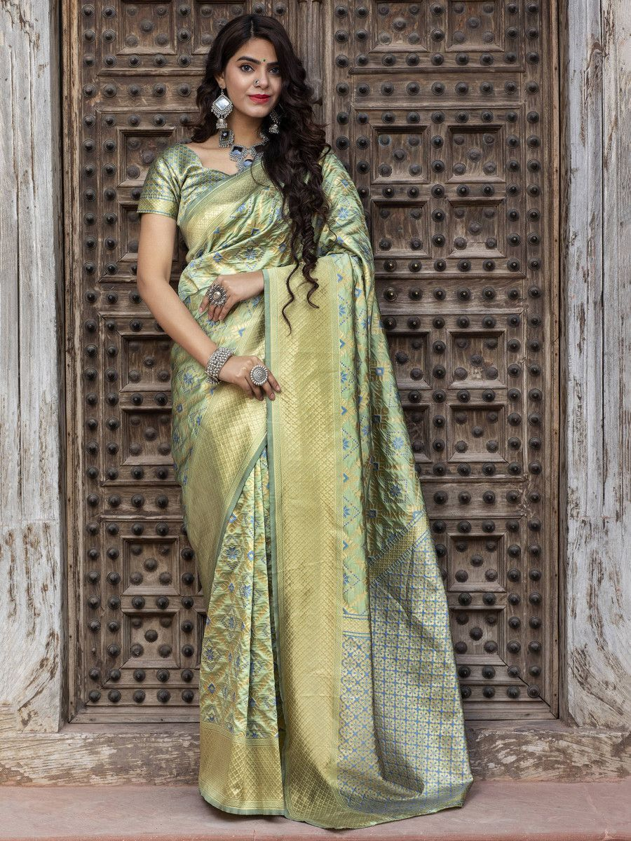 Pista Green Golden Weaving Banarasi Silk Wedding Wear Saree