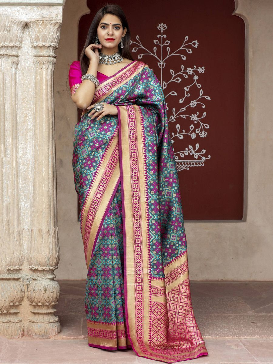 Multi Color Weaving Banarasi Silk Wedding Wear Saree