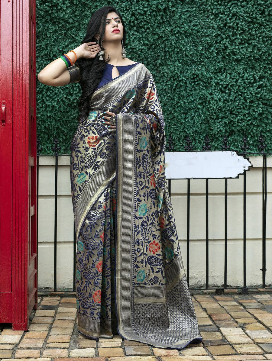 Navy Blue Floral Weaving Banarasi Silk Festive Saree With Blouse
