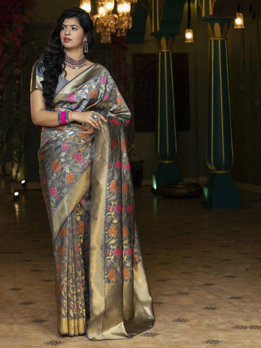 Grey Floral Weaving Banarasi Silk Festive Saree With Blouse