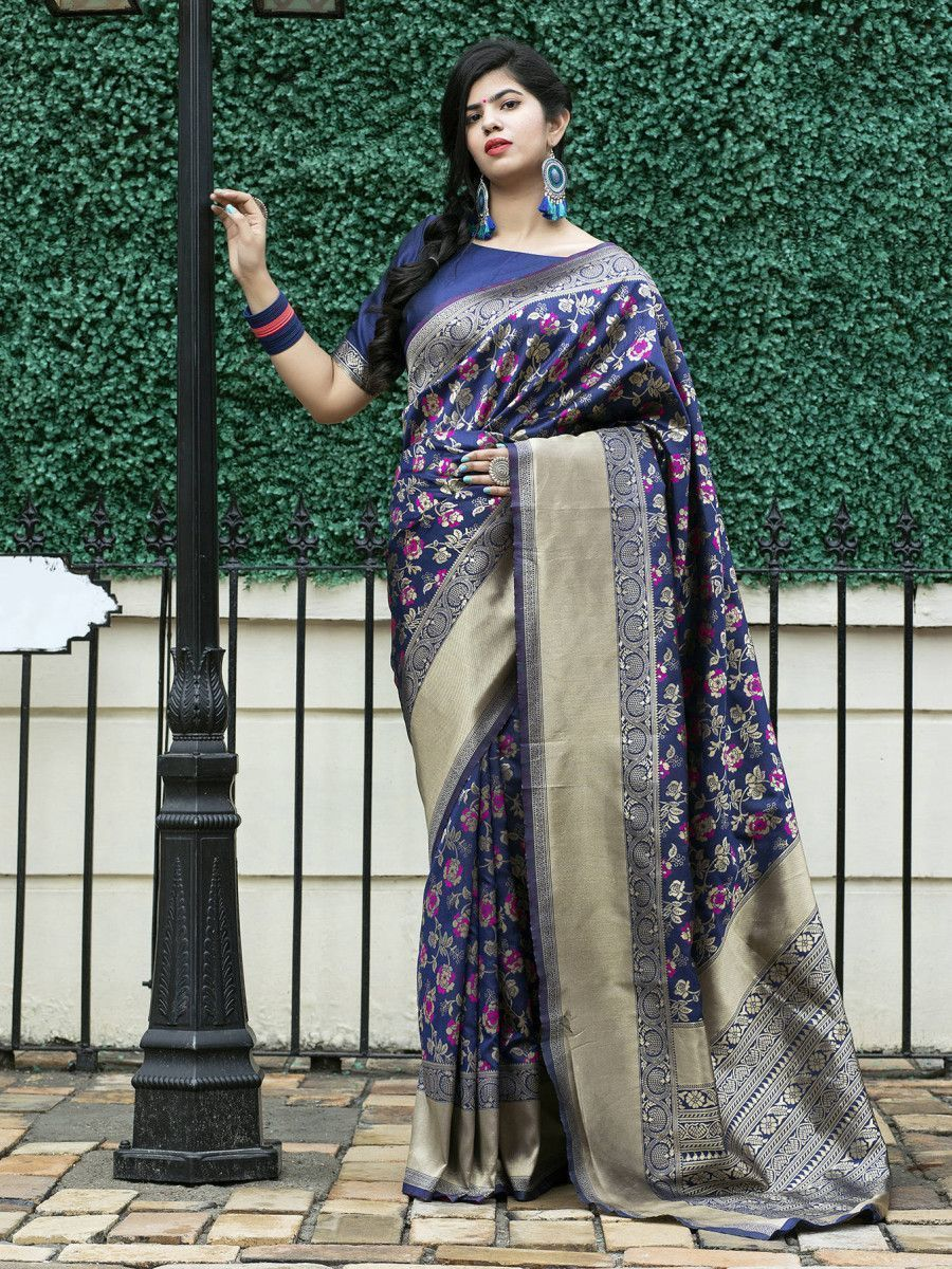 Navy Blue Weaving Banarasi Silk Festive Saree With Blouse
