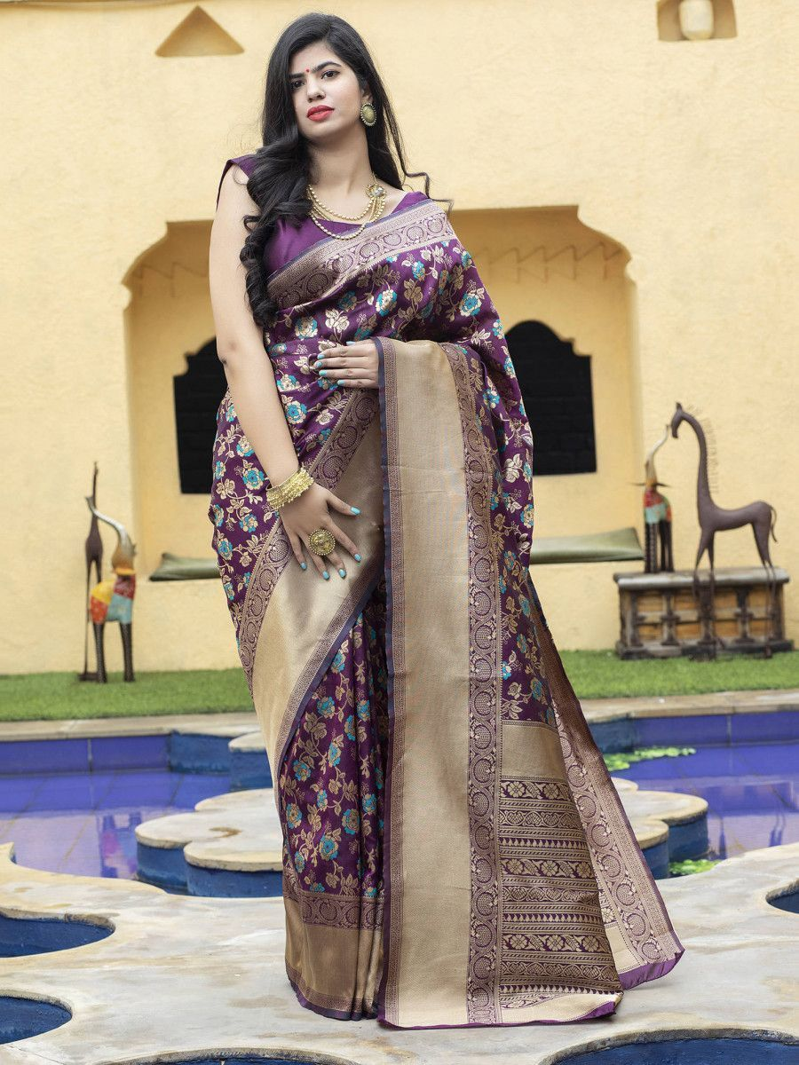 Purple Floral  Weaving Banarasi Silk Festive Saree With Blouse