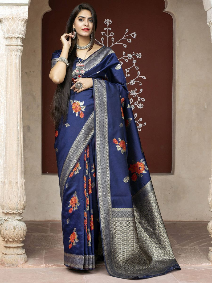 Blue Rose Floral Weaving Banarasi Silk Festive Saree