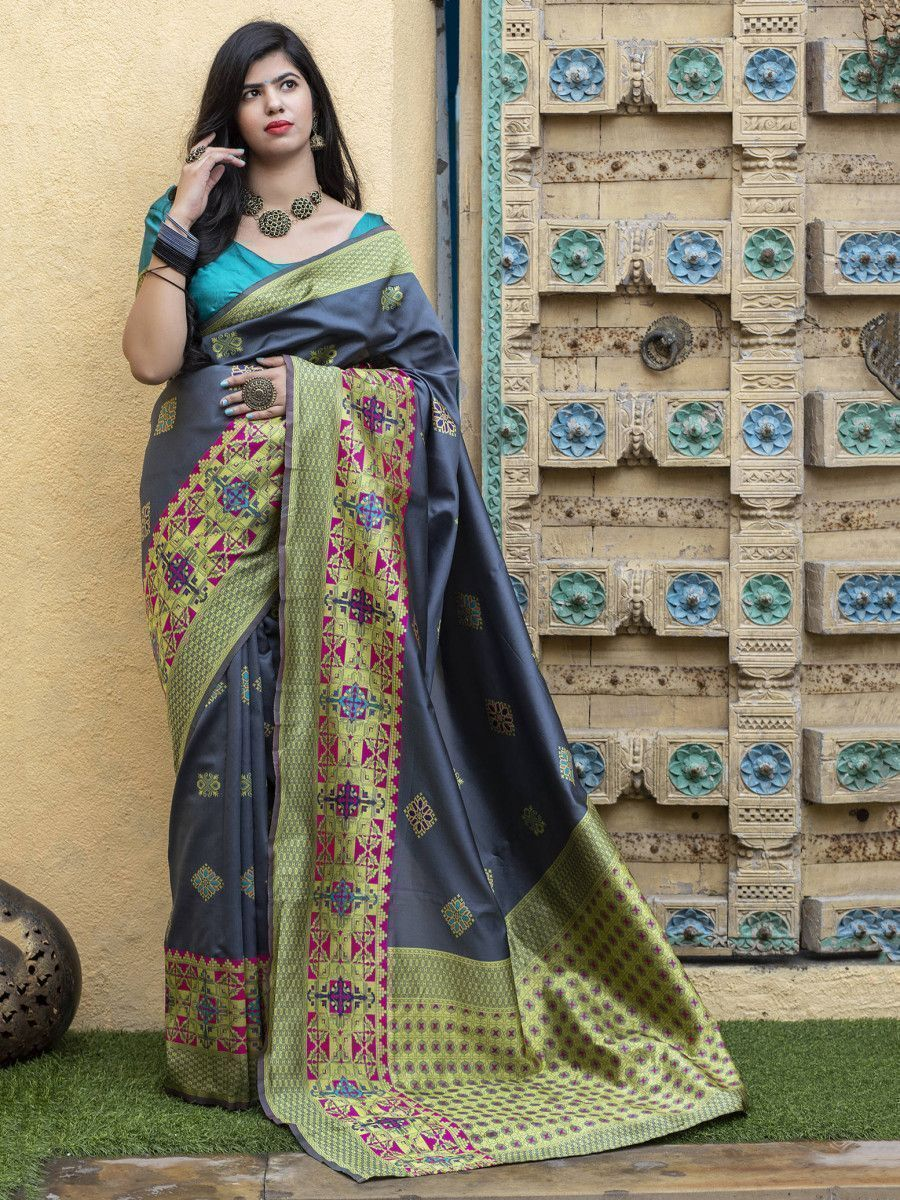Grey Heavy Bordered Banarasi Silk Wedding Wear Saree With Blouse