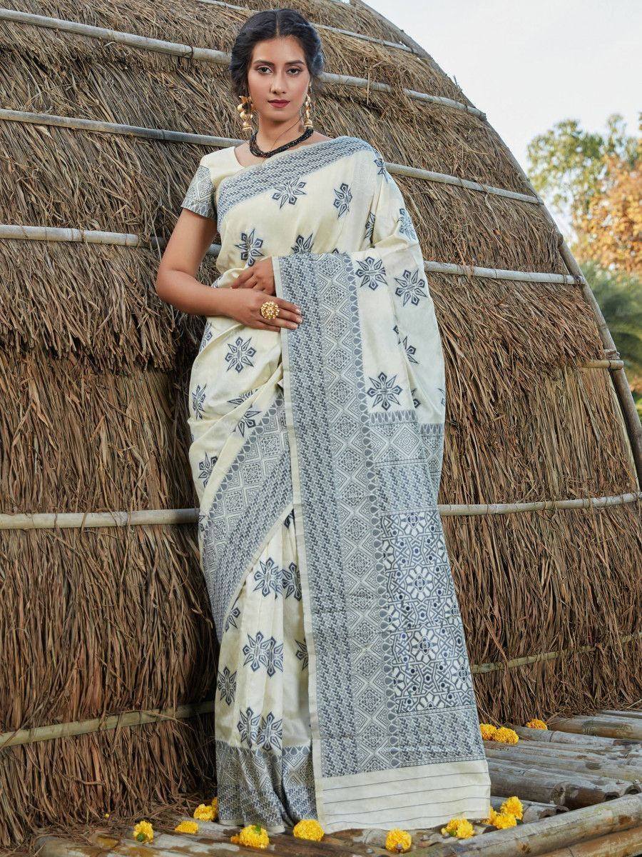 Off White Weaving Banarasi Silk Festival Wear Saree