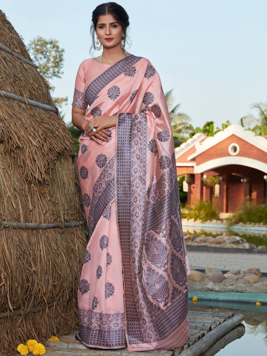 Light Pink Weaving Banarasi Silk Festival Wear Saree