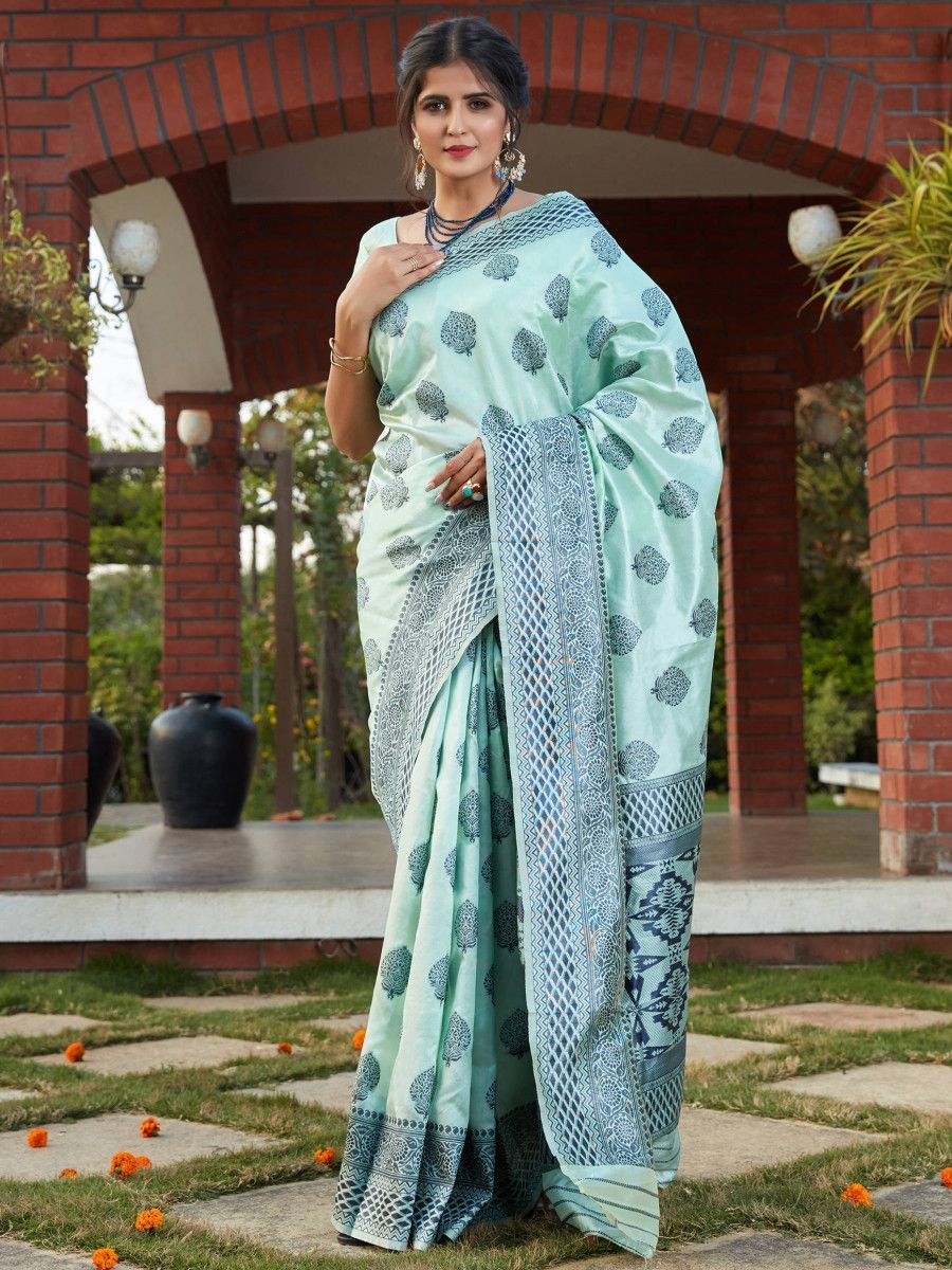 Light Blue Weaving Banarasi Silk Festival Wear Saree