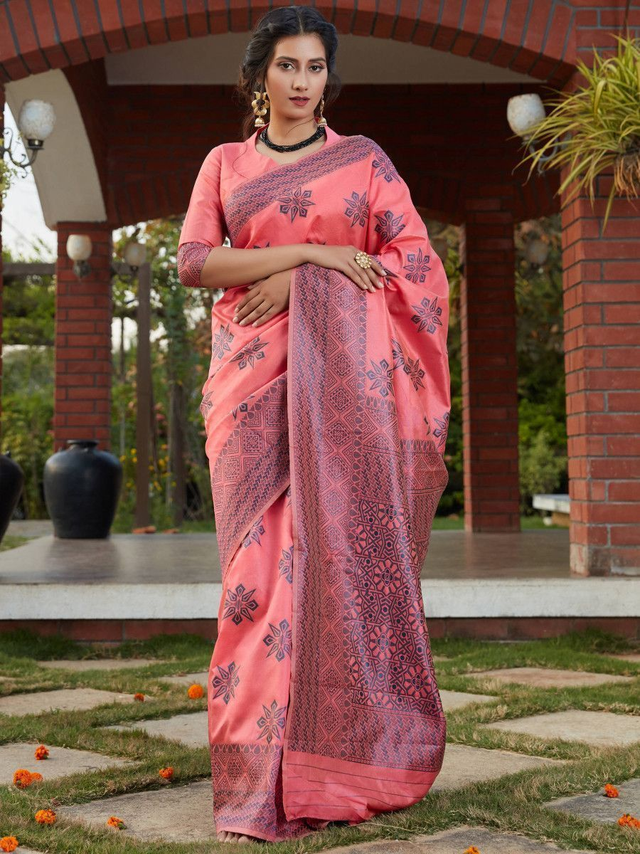 Pink Weaving Banarasi Silk Festival Wear Saree