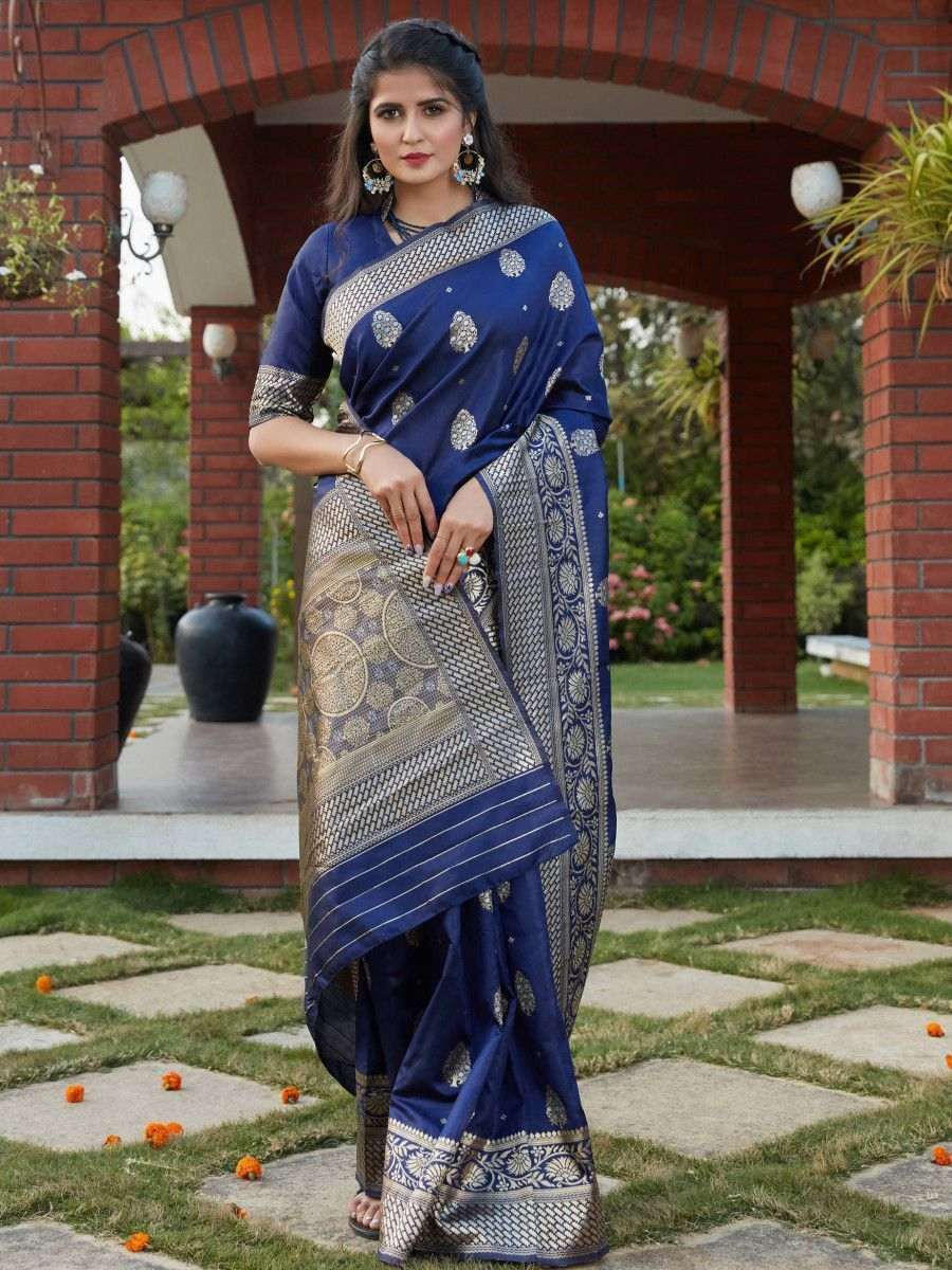Navy Blue Weaving Banarasi Silk Festival Wear Saree