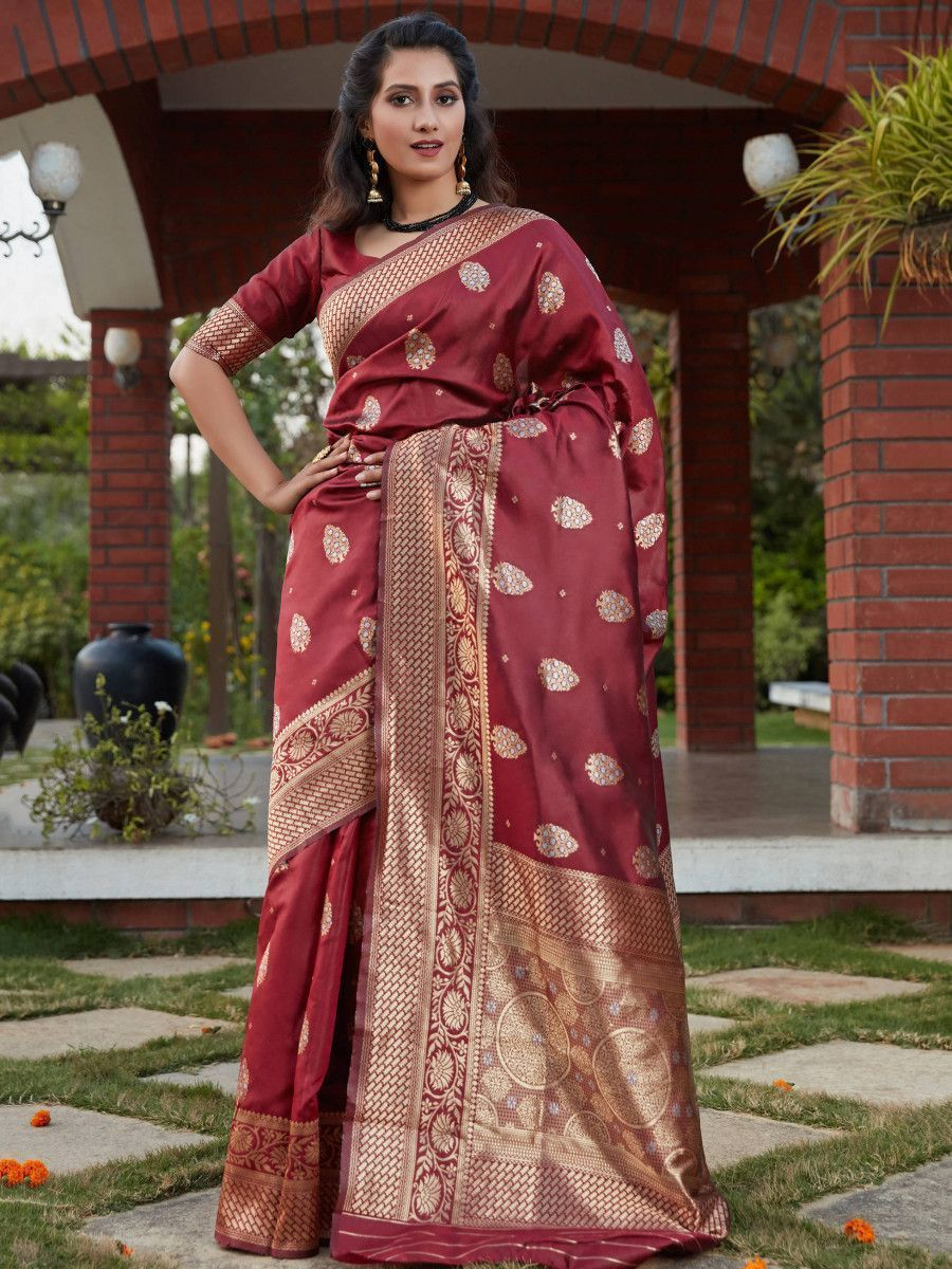 Wine Weaving Banarasi Silk Festival Wear Saree
