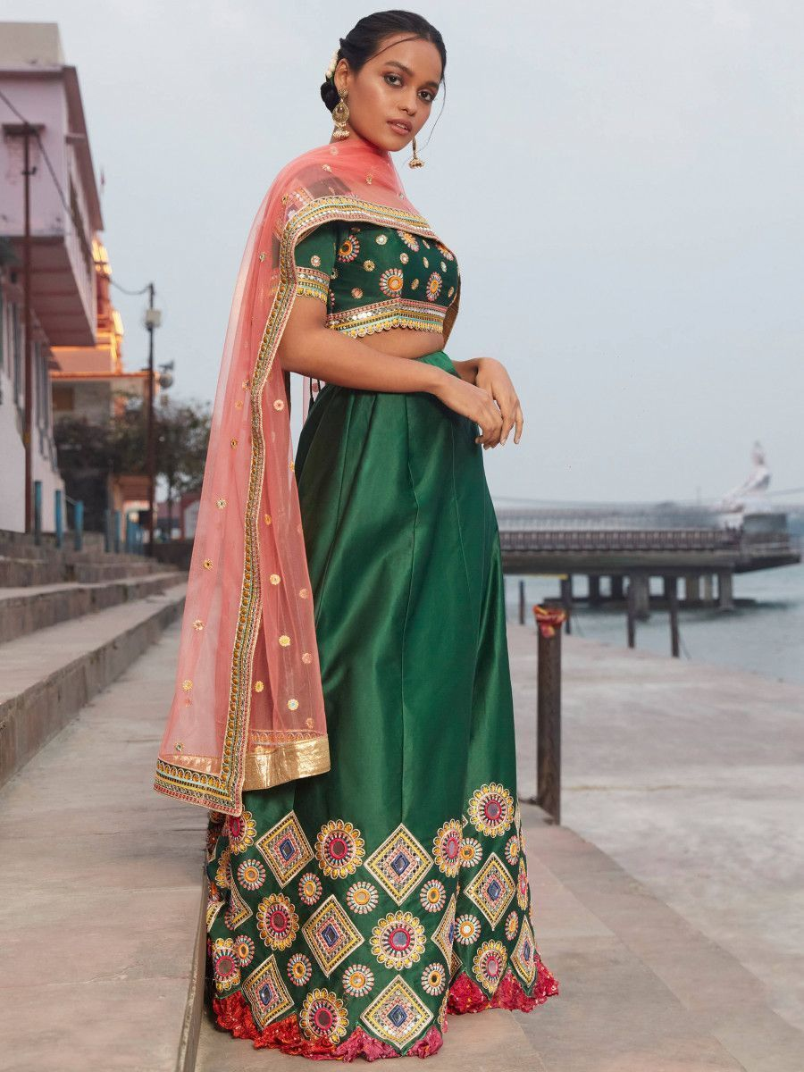 Teal Green Mirror Work Satin Wedding Wear Lehenga Choli