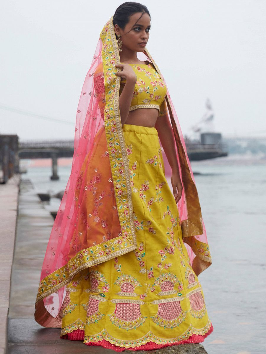 Lime Yellow Coding Work Art Silk Wedding Wear Lehenga Choli