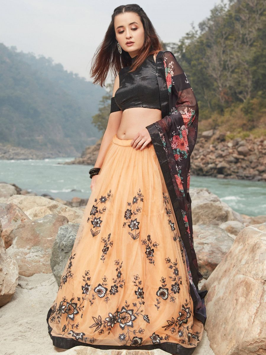 Peach Embroidered Net Party Wear Lehenga Choli With Floral Dupatta