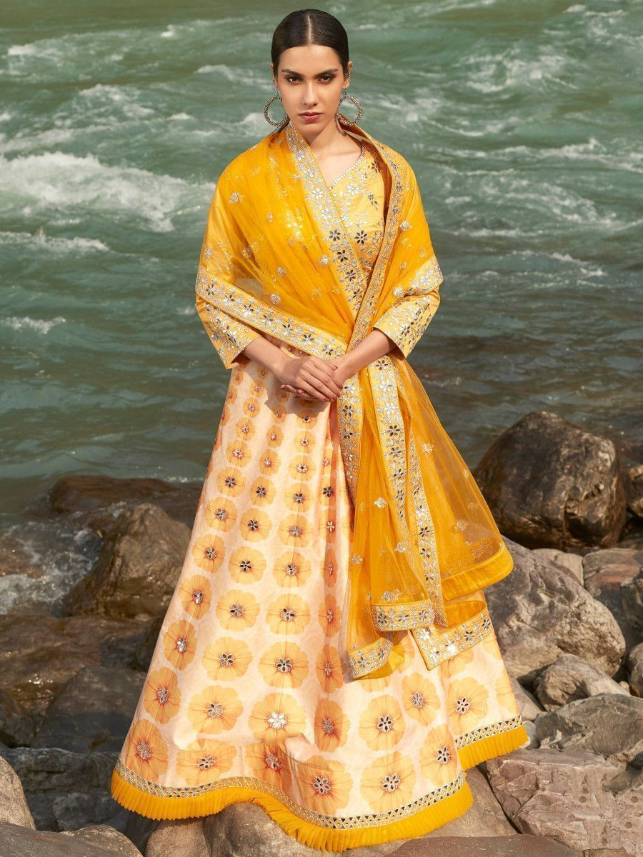 Yellow Printed Mirror Work Art Silk Wedding Lehenga Choli