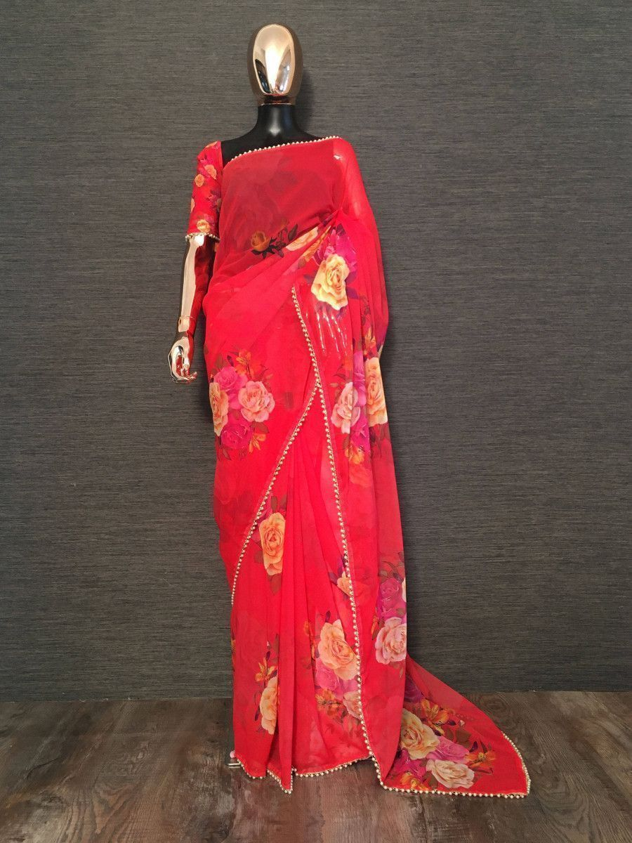 Red Rose Floral Printed Georgette Festive Saree With Blouse