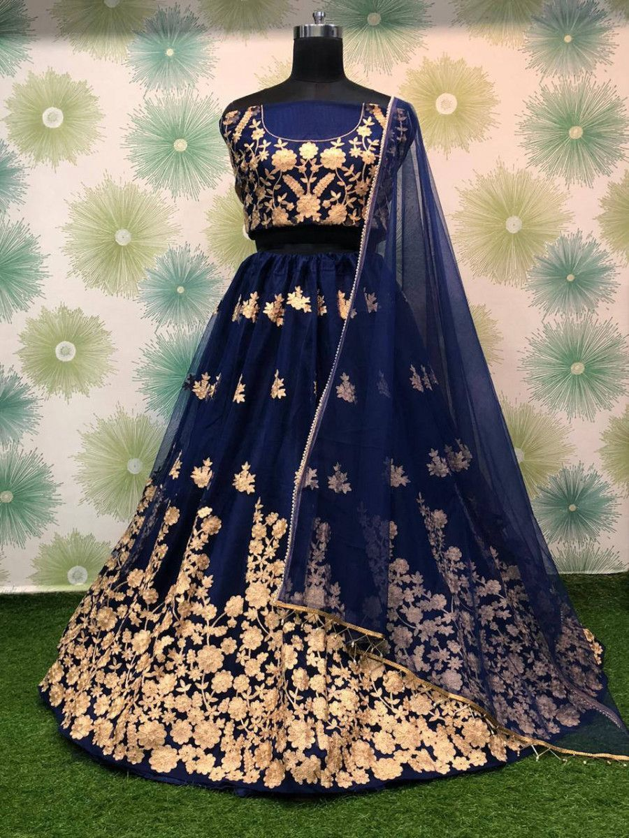 Navy Blue Thread Worked Heavy Net Festival Wear Lehenga Choli