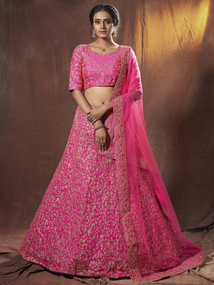 Pink Dori Embroidered Art Silk Bridal Lehenga Choli