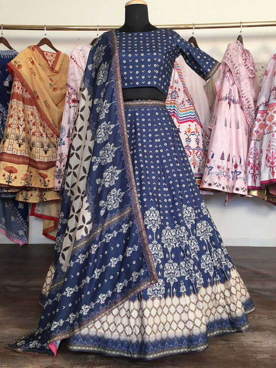 Navy Blue Heavy Digital Printed Silk Party Wear Lehenga Choli