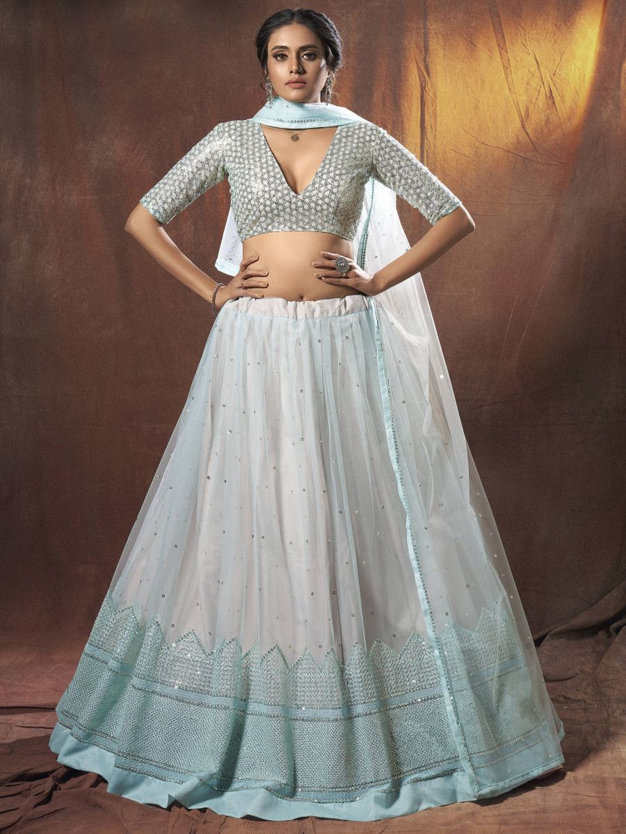 Light Blue Resham Embroidered Net Wedding Wear Lehenga Choli