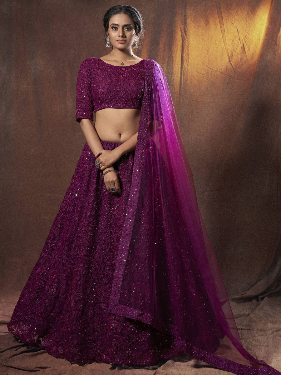 Wine Thread Net Embroidered Wedding Wear Lehenga Choli