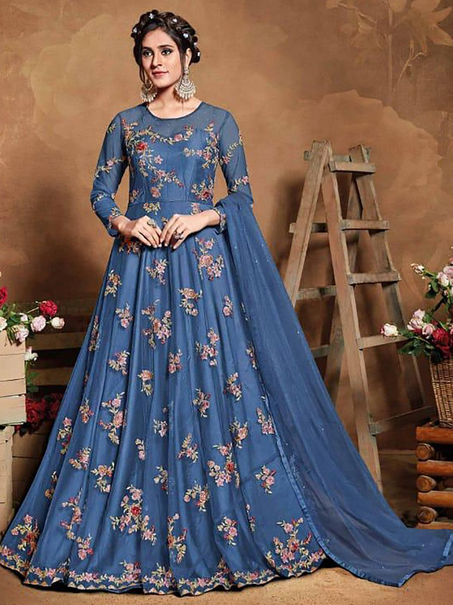 Blue Floral Embroidered Net Party Wear Abaya Style Gown