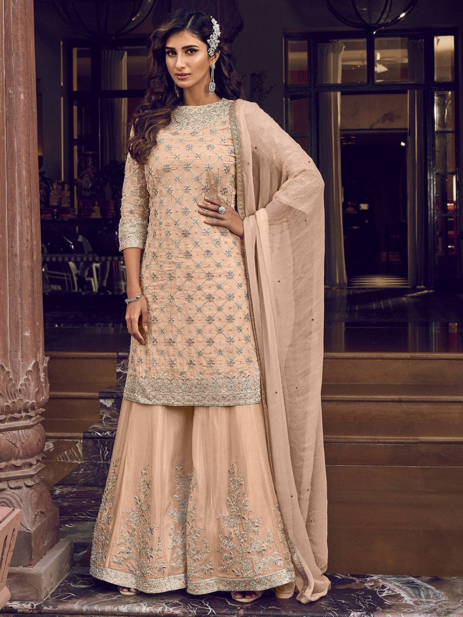 Peach Embroidered Net Party Wear Sharara Suit