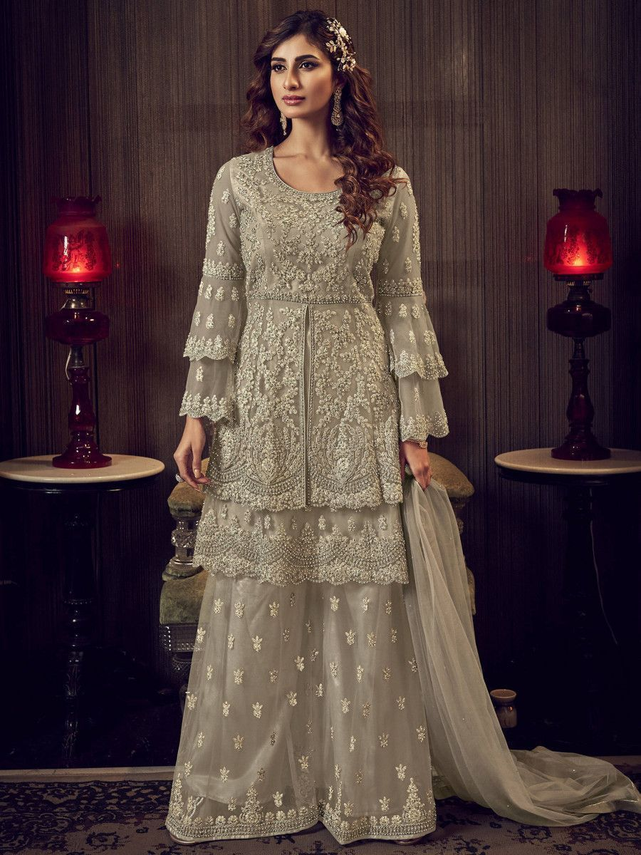 Grey Embroidered Net Party Wear Anarkali Sharara Suit