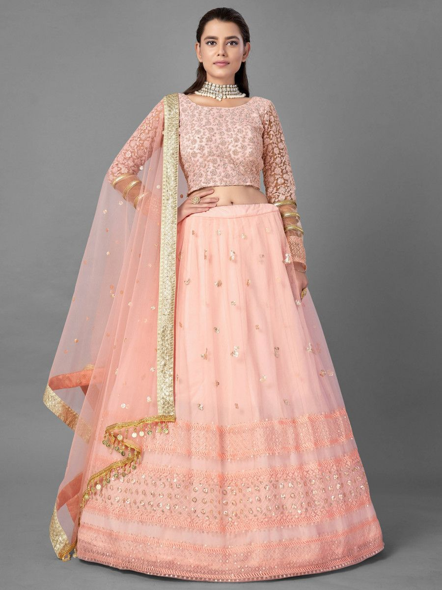 Peach Sequins Thread Soft Net Wedding Wear Lehenga Choli