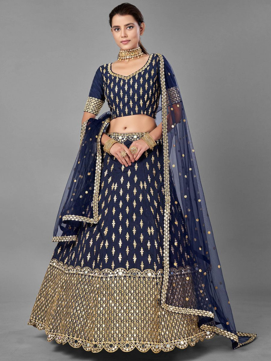 Navy Blue Foil Mirror Work Art Silk Wedding Wear Lehenga Choli