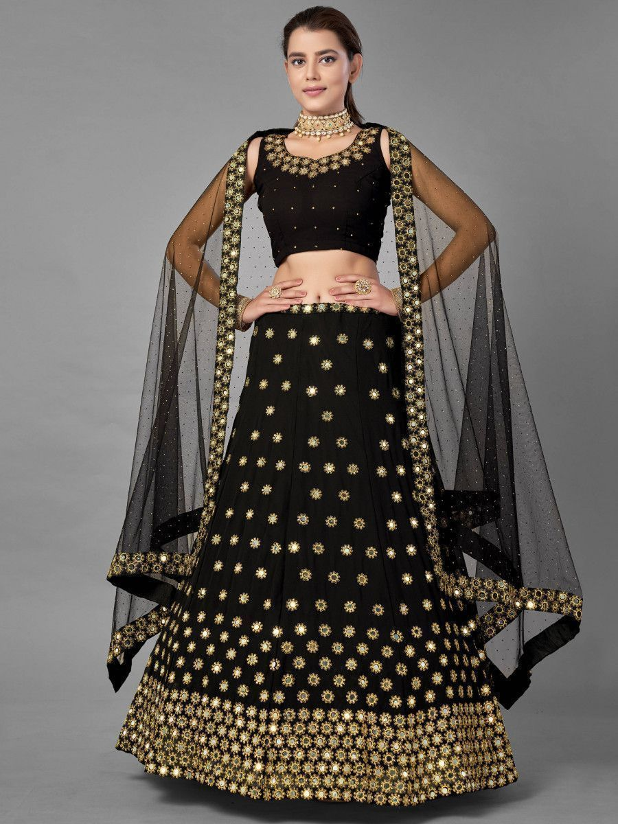 Black Mirror Work Georgette Party Wear Lehenga Choli