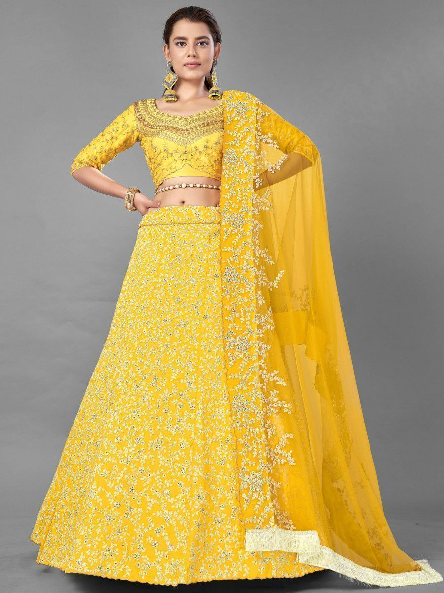 Yellow Dori Embroidered Art Silk Wedding Wear Lehenga Choli