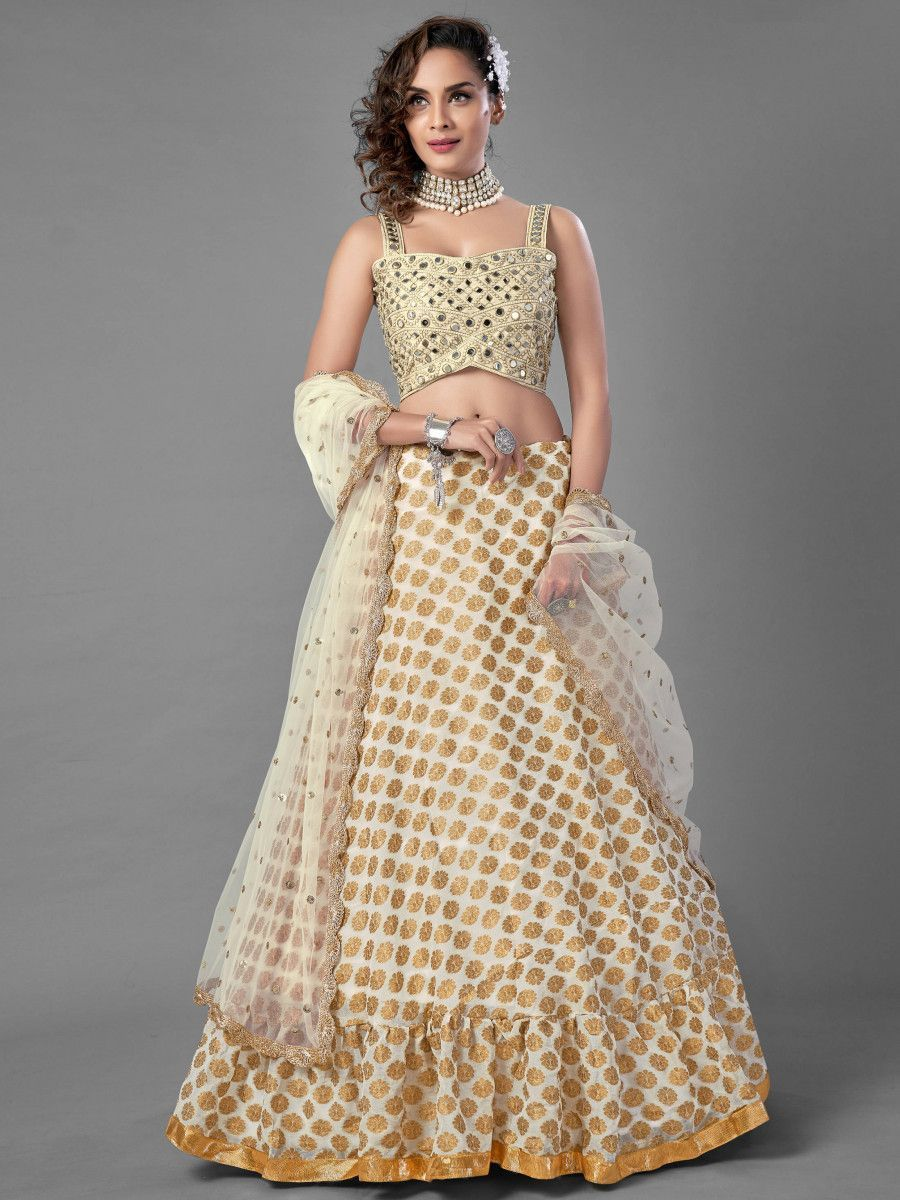 Beige Mirror Viscose Silk Wedding Wear Lehenga Choli