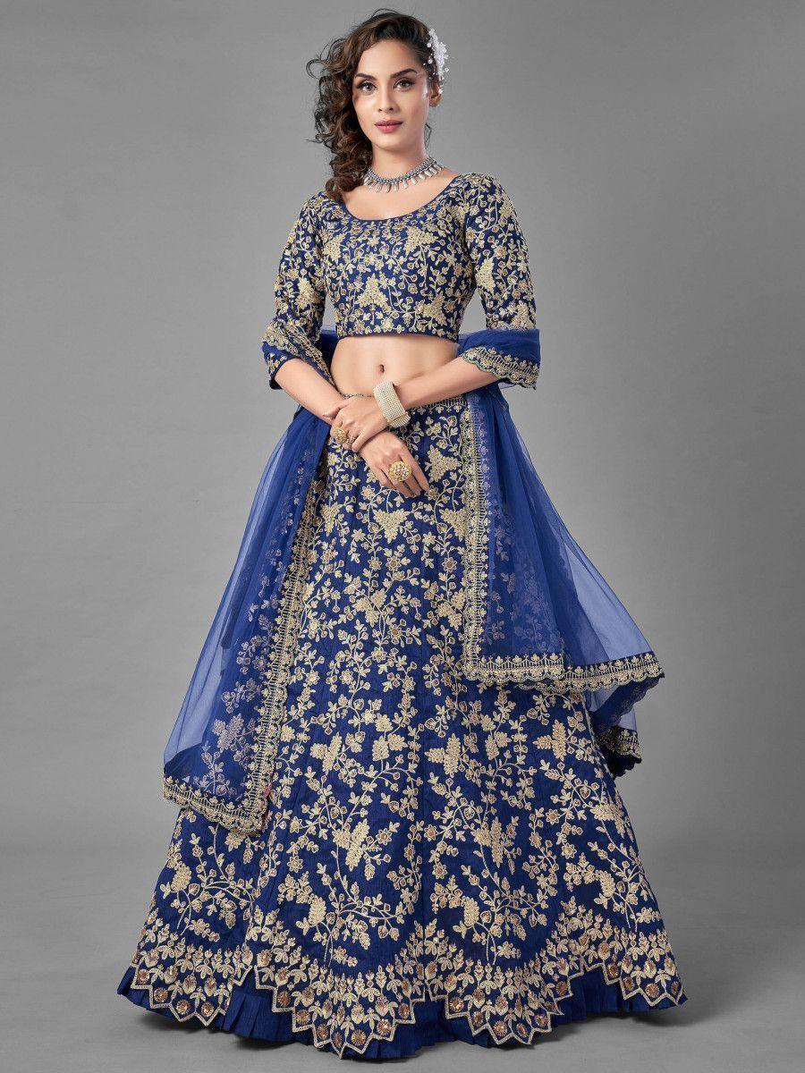 Royal Blue Dori Embroidered Art Silk Wedding Wear Lehenga Choli