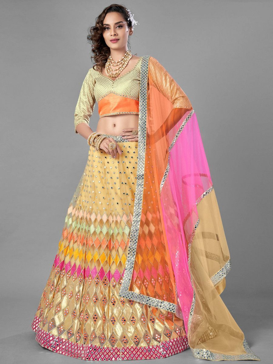 Beige Multi Thread Embroidered Soft Net Wedding Wear Lehenga Choli