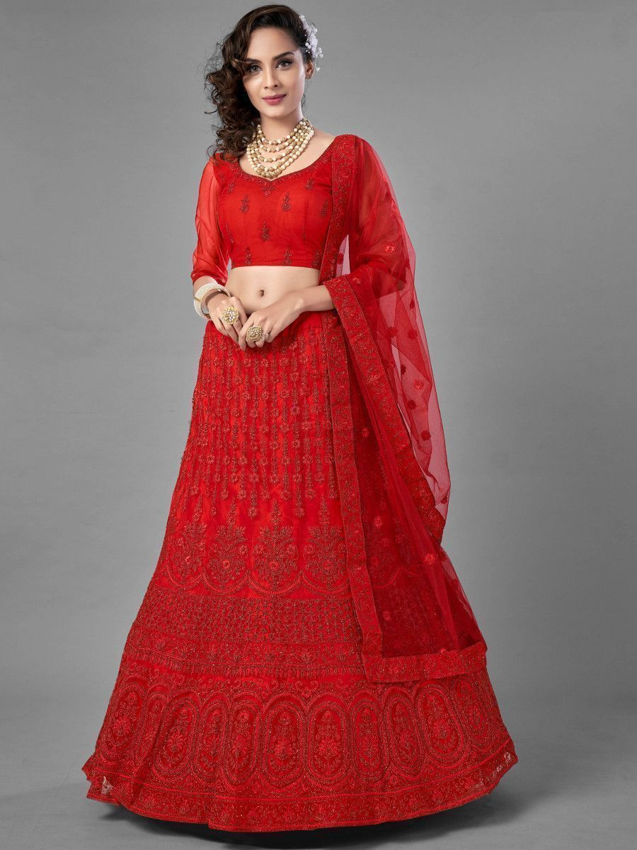 Red Dori Embroidered Soft Net Bridal Lehenga Choli
