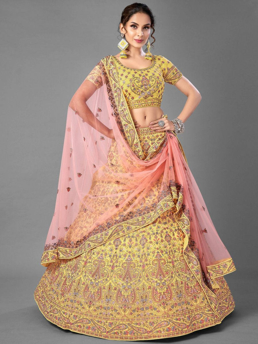 Yellow Multi Thread Embroidered Georgette Bridal Lehenga Choli