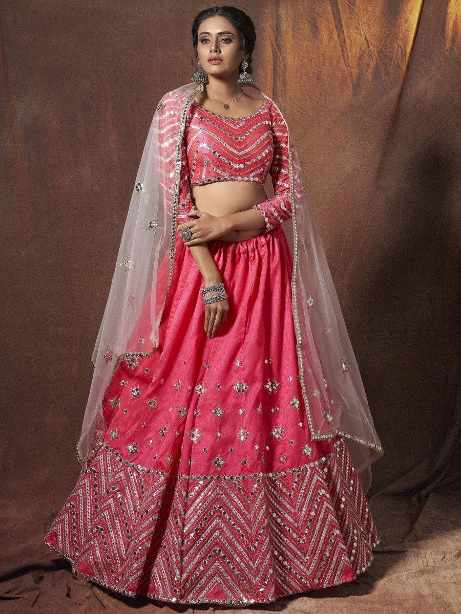 Hot Pink Zari Work Art Silk Wedding Wear Lehenga Choli