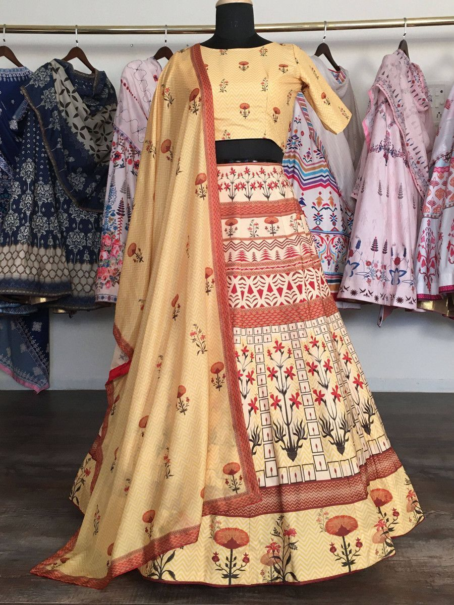 Yellow Heavy Digital Printed Silk Party Wear Lehenga Choli