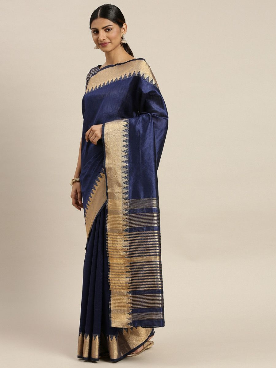Navy Blue & Gold-Toned Silk Blend Solid Banarasi Myntra Saree