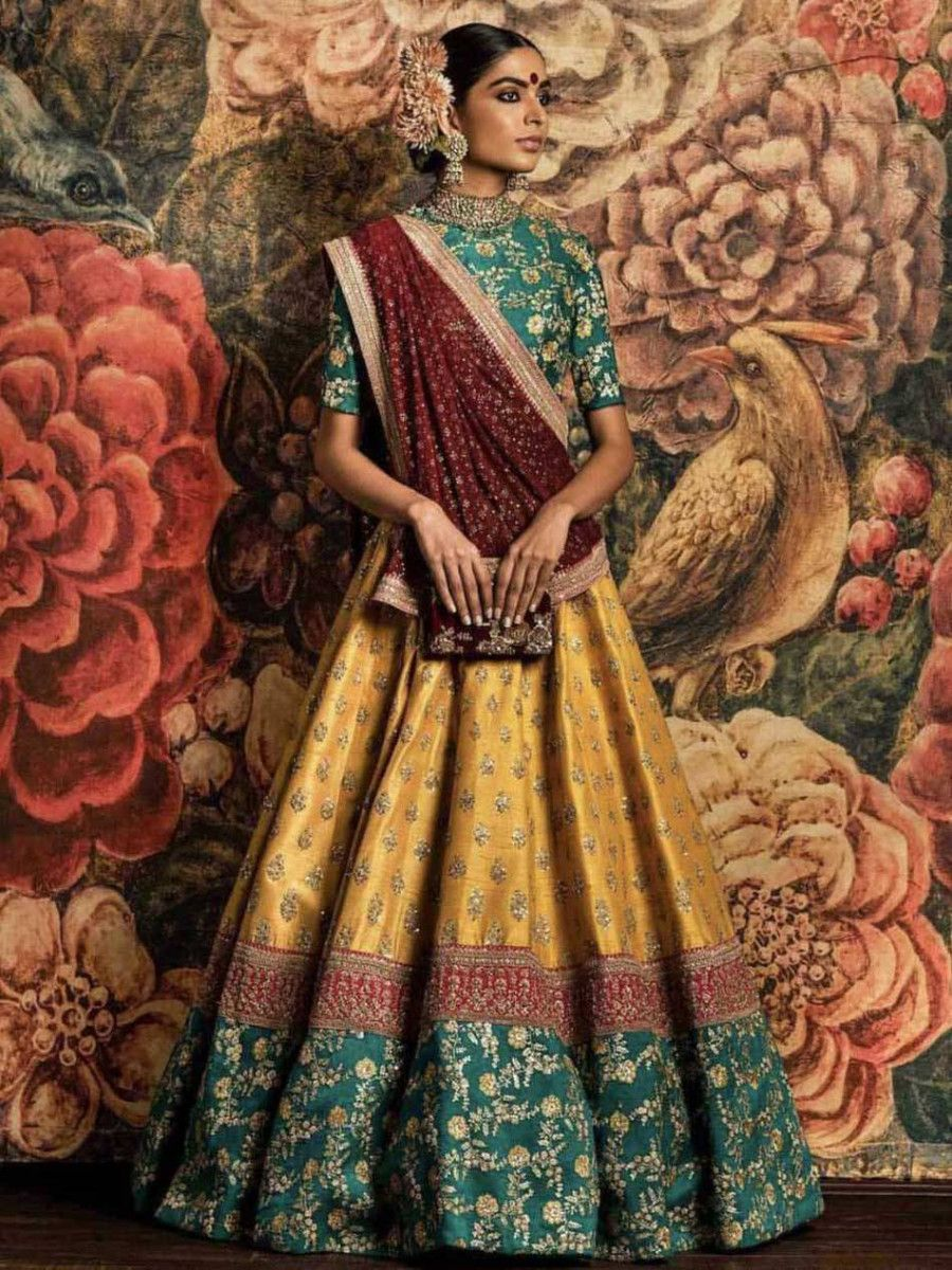Sabyasachi Teal Green-Yellow Bridal Lehenga Choli With Dupatta