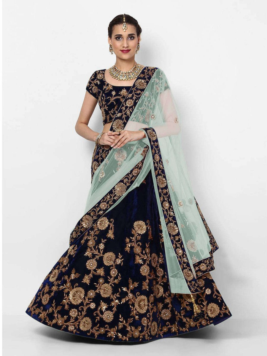 Navy Blue Embroidered Velvet Bridal Lehenga Choli With Sky Blue Dupatta