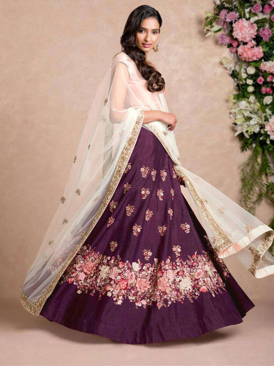 Purple Dori Embroidered Silk Bridal Wedding Lehenga Choli