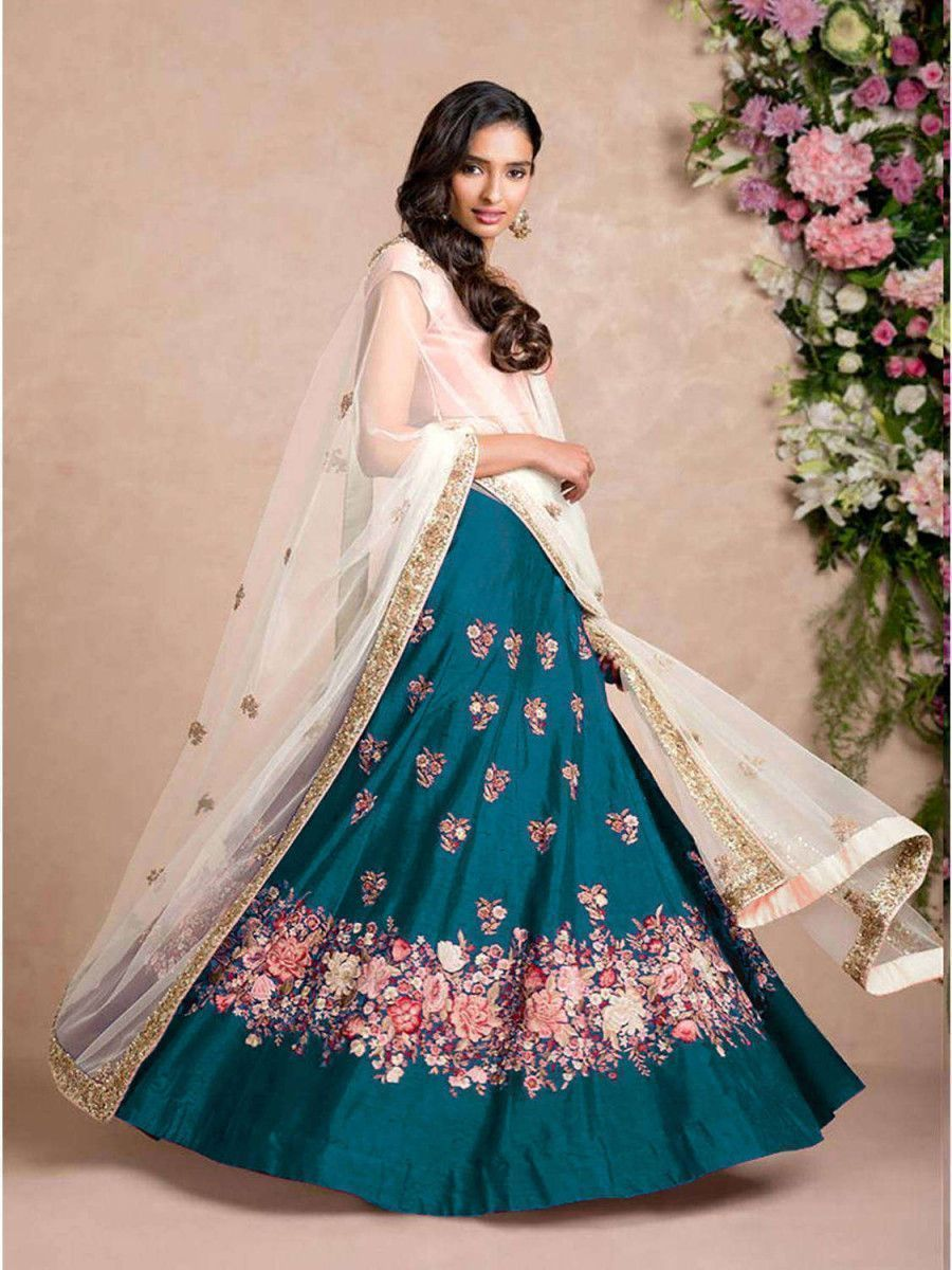 Teal Blue Dori Embroidered Silk Bridal Wedding Lehenga Choli