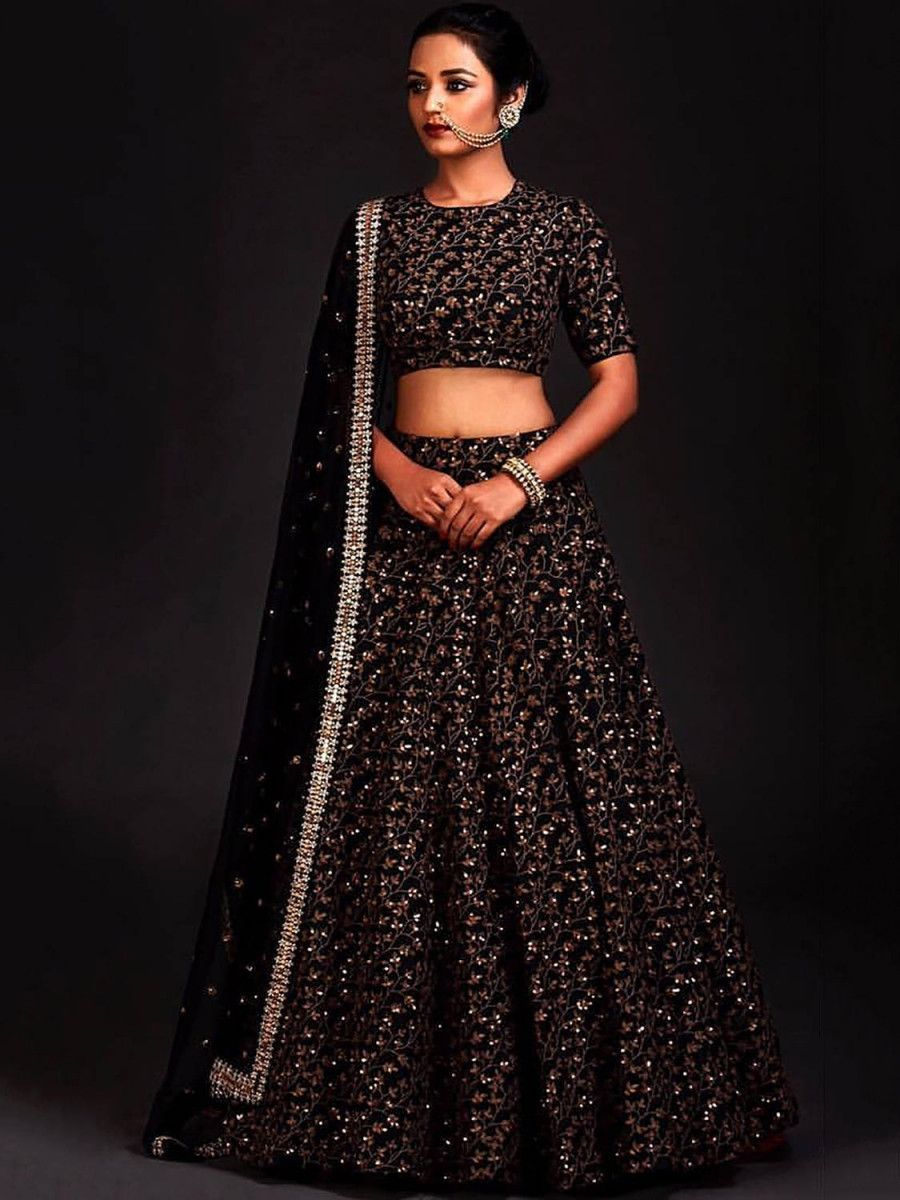 Black Zari Embroidered Silk Bridal Lehenga Choli
