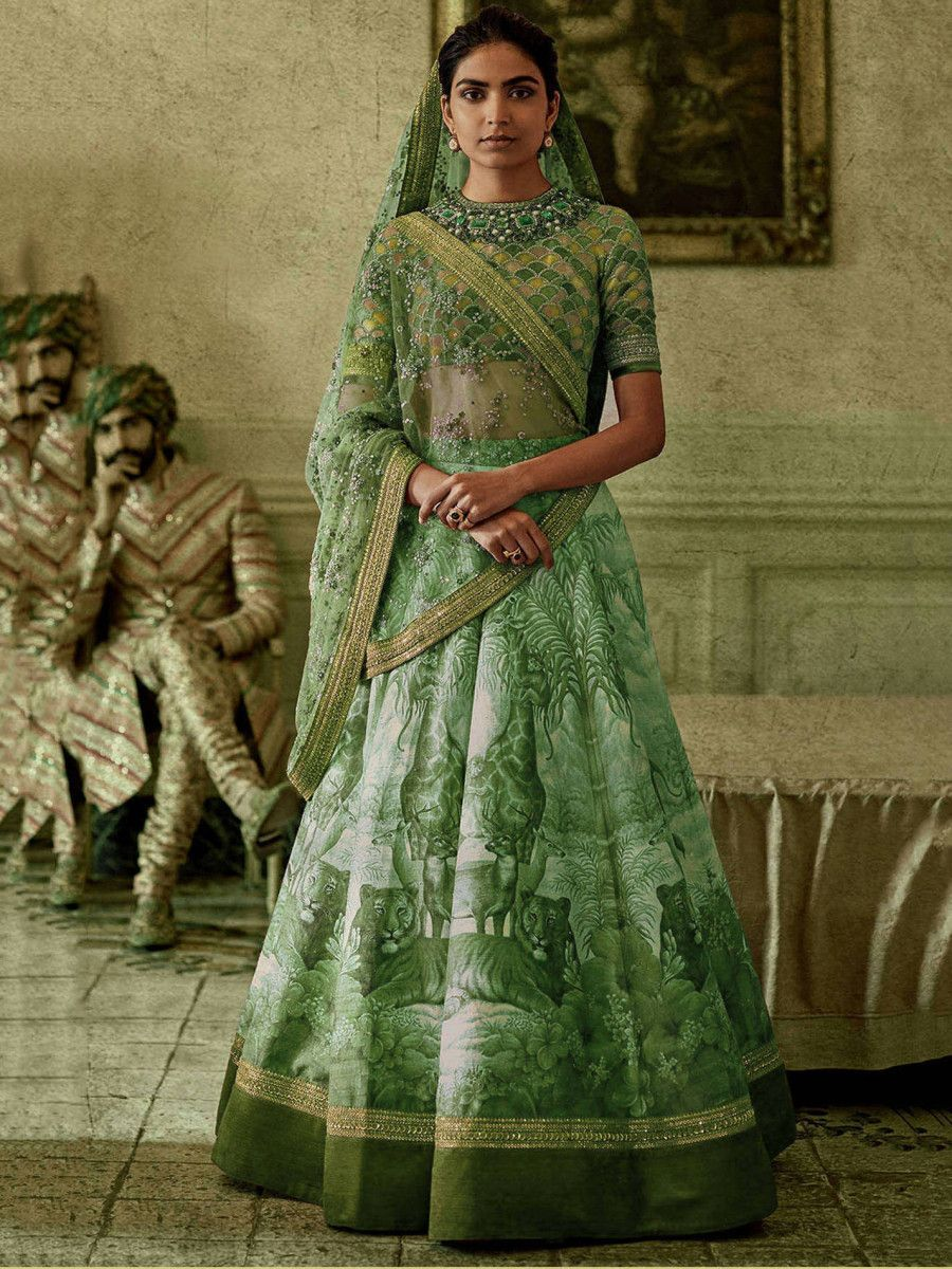 Green Digital Print Art Silk Partywear Lehenga Choli