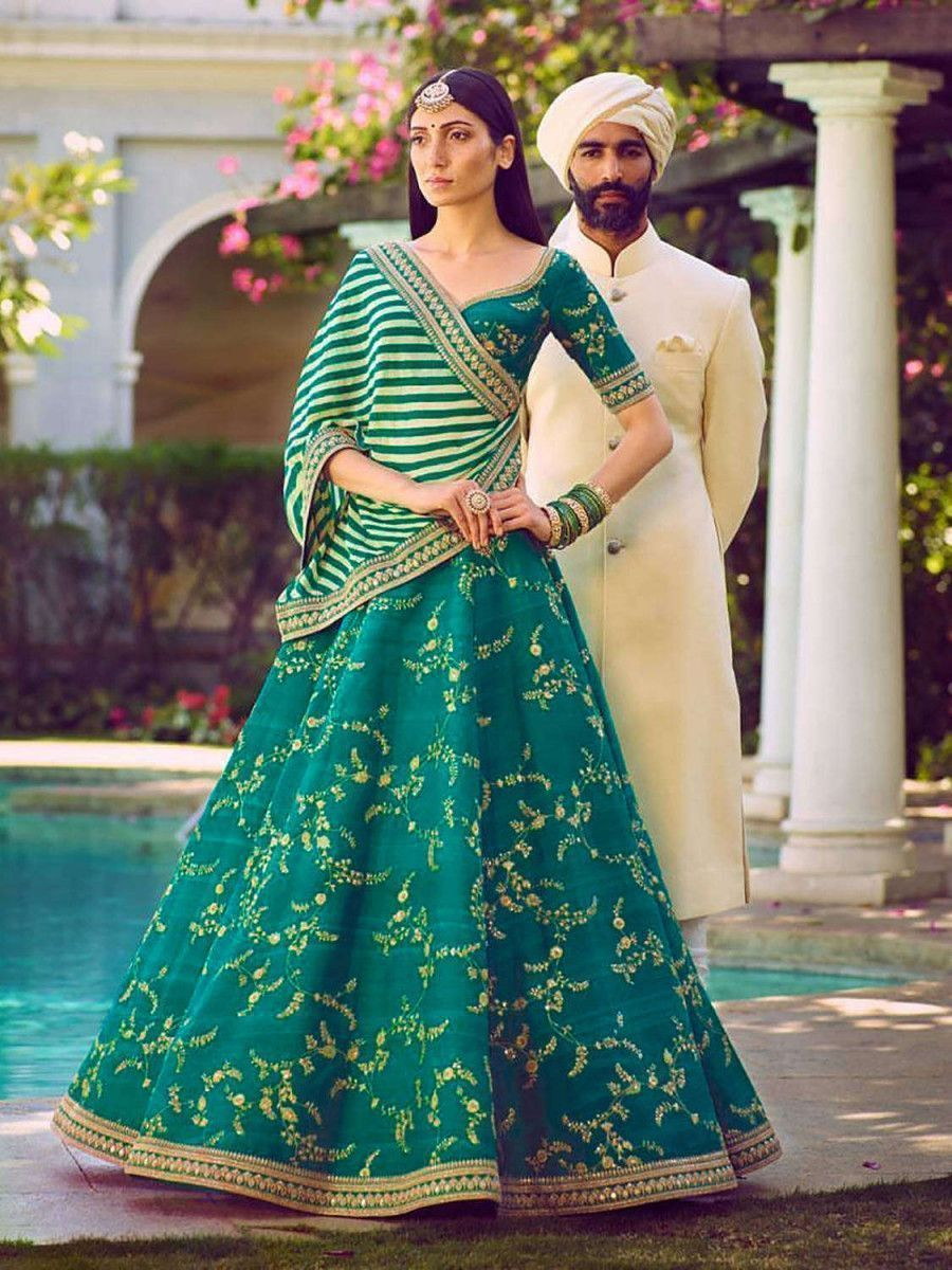 Green Embroidery Mulberry Silk Wedding Lehenga Choli