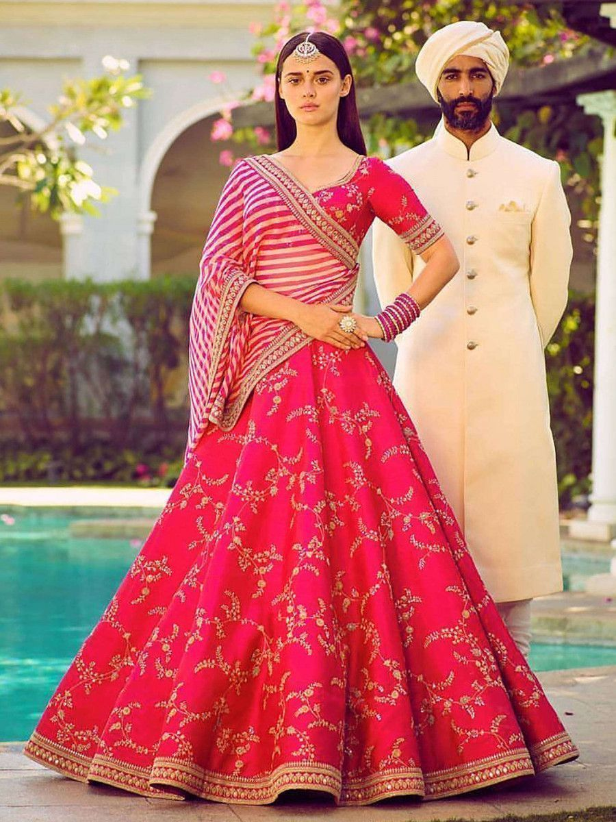 Pink Embroidery Mulberry Silk Wedding Lehenga Choli