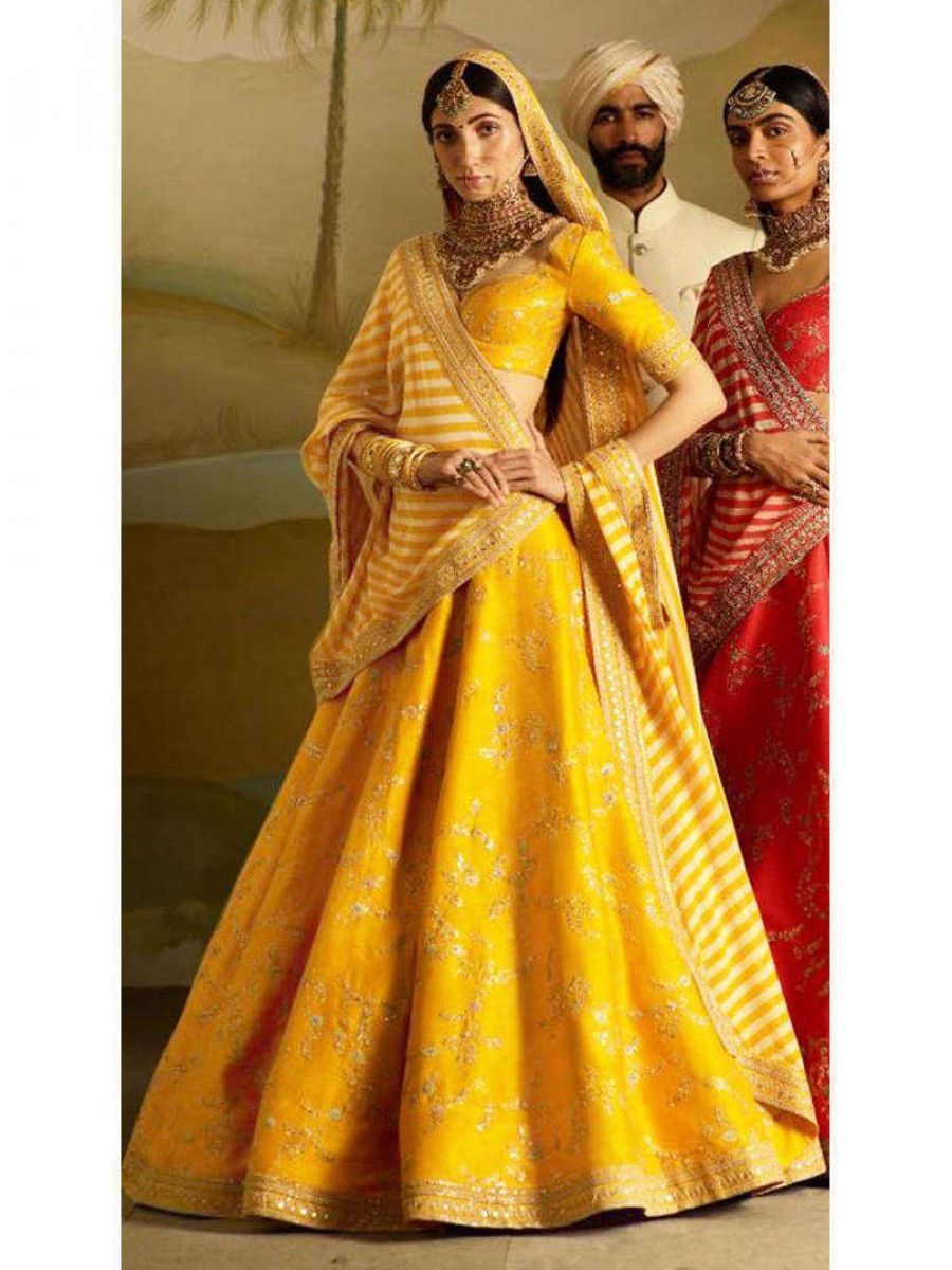 Yellow Embroidery Mulberry Silk Wedding Lehenga Choli