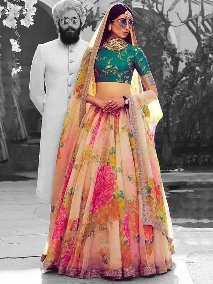 Sabyasachi Off White Floral Digital Printed Organza Bridal Lehenga Choli